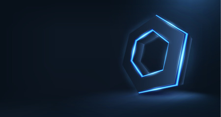 Vector realistic 3d hexagon with neon parts in dark background .Futuristic illustration. Vector hexagonal object, Realistic hexagon, 3D HUD hexagon. Futuristic glowing hexagon. Neon hexagon Illustration