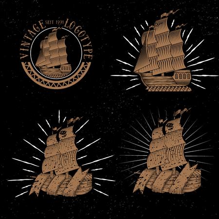 logotypes: Vintage ships collection. Retro transport set. Vintage vector. Ships logotypes. Vintage signs illustration. Retro logote .Handdrawn ships. Vintage style. Illustration