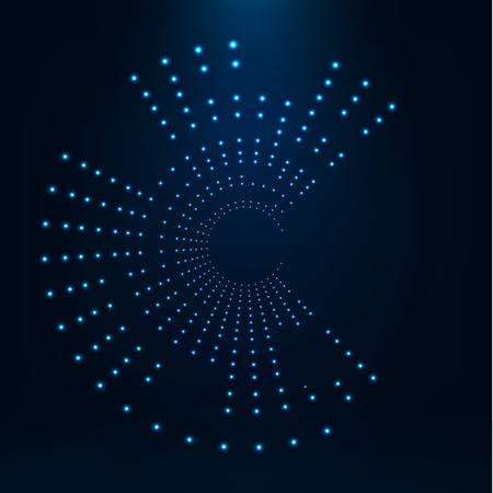 Abstract geometric technology shape of glowing particles .Broken light neon dots and Network connection. Neon circles consist of lights. Ilustração