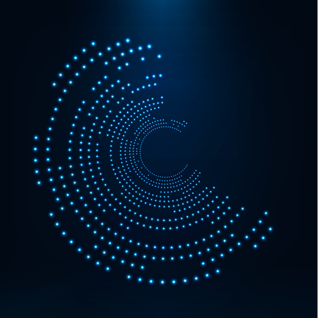 circle objects: Abstract geometric technology shape of glowing particles .Broken light neon dots and Network connection. Neon circles consist of lights .