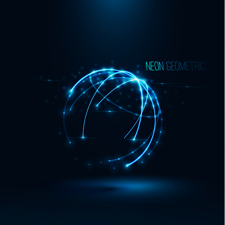 globe grid: Abstract geometric technology shape of glowing particles Light neon dots and lines sphere wireframe Network connection Neon grid globe , Futuristic earth background Vector digital 3d planet illustration