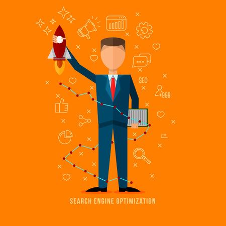 Search engine optimization specialist .Flat style seo expert illustration . Line flat icons set . Flat man character . Internet marketing . Stok Fotoğraf - 58146891
