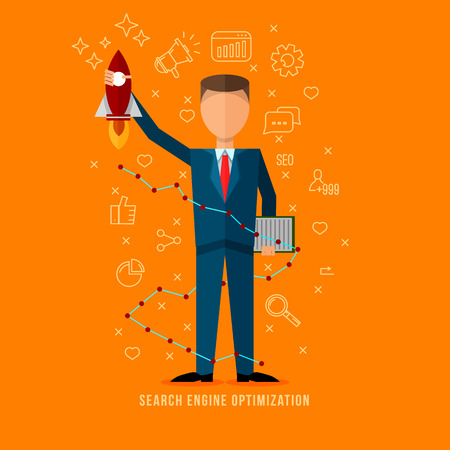 Search engine optimization specialist .Flat style seo expert illustration . Line flat icons set . Flat man character . Internet marketing . Illustration