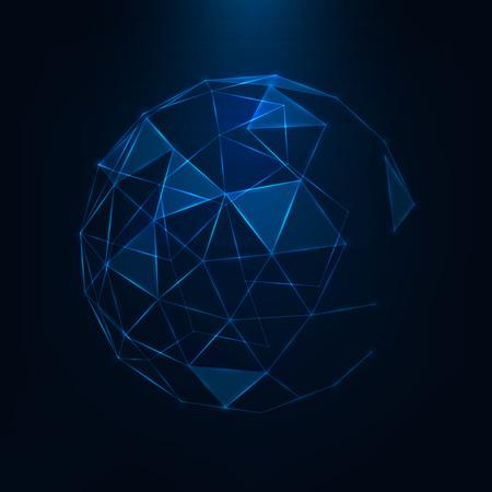 Estratto 3d low poly sfera con struttura caotica World global network Triangle globe Vector futuristico sci fi illustrazione