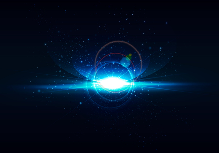 Abstract digital space background . realistic rays and highlights ,wallpaper , space . Vector orion , earth . Bright lens flares on space background .Realistic light glare . Lighting effects Galaxy illustration . Flash at space