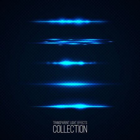moder: Glowing light effcets collection  isolated on transparent. Abstract realistic Sci Fi  hightlights . Creative , moder concept . Vector illustration . Illustration