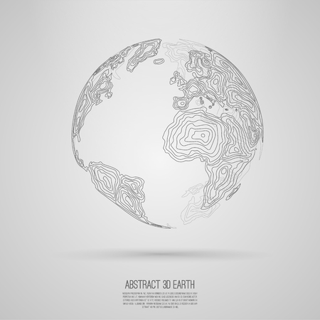 lineart: Abstract 3d world map consist of wavy lines  Vector earth globe  Decorative continents  Global network connection of planet Lineart