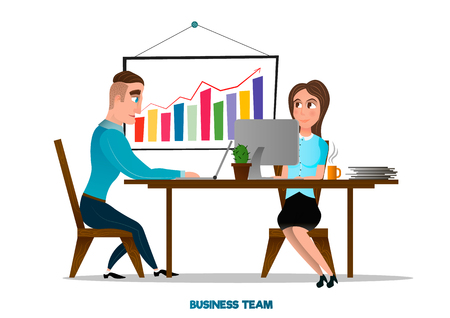 Young and successful business team . Office accessories . Desk with exponential growth graph . Team work at modern office .Vector cartoon illustration isolated on white background . Illustration