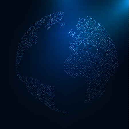 digital world: Abstract futuristic realistic earth . Globe at motion . Global network connection . Digital world map . Planet consist of glowing particles . Technology HUD background . Vector sphere illustration