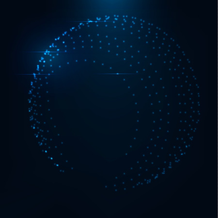 globe grid: 3d abstract shape consist of glowing dots . Colorful magic shiny globe . Digital connection. Blue glitter particles .Technology concept . Neon glowing and reflections .Globe Grid . Abstract circles