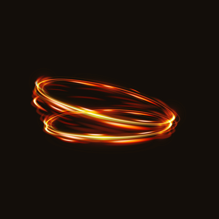 shutter speed: Fire blurry circles at motion . swirl trail effect . Abstract luminous rings slow shutter speed effect . Light painting . Bokeh glitter round shapes . Abstract lights at motion exposure time