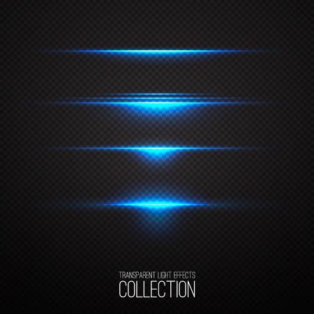 輝く青い光の効果コレクション透明に分離されました。抽象的な現実的なサイファイをハイライトします。クリエイティブでモダンなコンセプト。  イラスト・ベクター素材