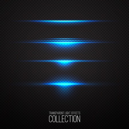 Glowing blue light effects collection isolated on transparent. Abstract realistic Sci Fi highlights . Creative , modern concept . Illustration