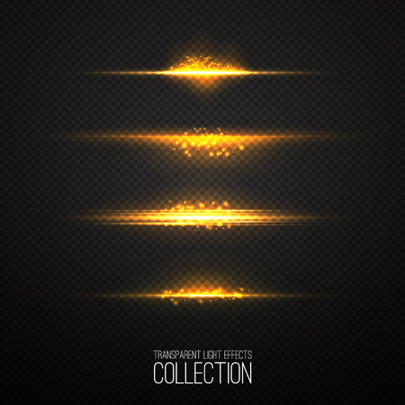 starlet: Glowing light effects collection  isolated on transparent. Abstract realistic Sci Fi  highlights . Creative , modern concept .