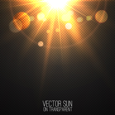 Vector realistic sun on transparent . Abstract warm light and rays with bokeh . Glowing light effect with sparkles and beams . Glowing nature object . Sunshine design . Solar lens flare illustration Illustration