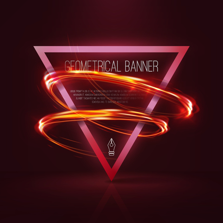 glitz: Geometrical banners with neon lights . 3d triangle vector banner with fire blurry circles at motion . swirl trail effect ,bokeh Abstract lights at motion exposure time . Light painting on banner .