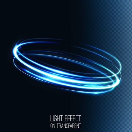 shutter speed: Neon blurry circles at motion . Abstract luminous swirl trail , slow shutter speed effect . Light painting .  Lights shape at motion . Vector exposure time , Illustration