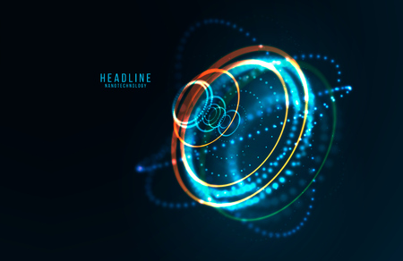 Abstract futuristic object . HUD elemet . 3D hologram display consist of glowing particles and blurred cirles . Nanotechnology machine . Vector science and technology illustration . Vector Illustration