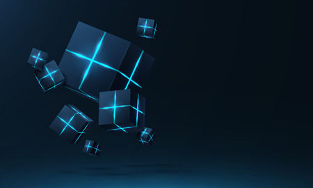 Vector realistic 3d cubes with neon parts compose on dark space background . Cyberspace ,Hi tech , futuristic vector illustration .Blockchain visual concept