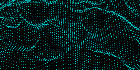 Abstract digital wave grid consist of particles . Futuristic vector illustration . Connection visualization .