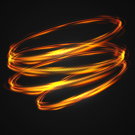 Neon blurry circles at motion . Vector swirl trail effect . Abstract luminous rings slow shutter speed effect . Light painting . Abstract lights at motion exposure time. Isolated on transparent