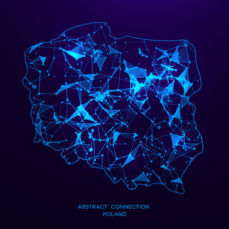 Futuristic map of Poland consisting of connecting lines and points. Polygonal texture. Abstract network connection . Digital country map . Technology vector illustration . Stock Illustratie