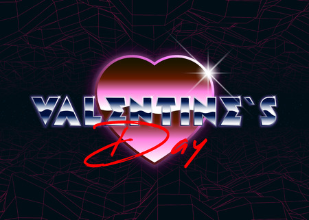 Happy Valentines Day greeting card in retro style. Neon polygonal heatr.Speed lignt rays. Vector 3d illustration. 80s retro futuristicstyle.