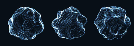 Set of corrupted point spheres. Collection of globe grids with a broken structure. Kit of 3d objects consist of glowing particles