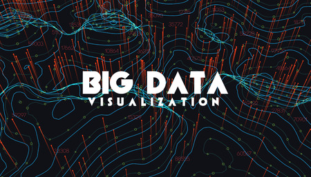 Big data visualization. Trendy infographic background. Data analysis presentation. Topographic 3d map consist of wavy circles and lines. Abstract graph and chart concept