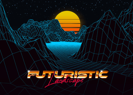 Abstract synthwave background completed in retro style. Futuristic landscape grid, sunset and starry sky. Bright typography of 80s. Retro futurism. Game environment concept. Vector illustration