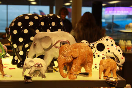 Colored Elephants Sculpture