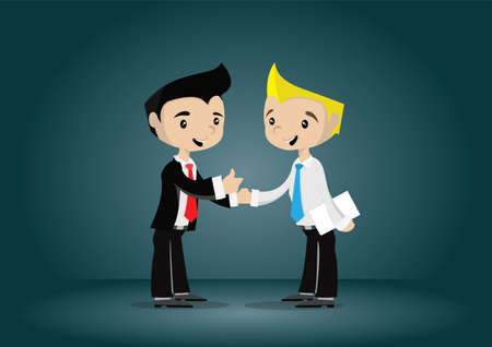 Cartoon character young businessman appreciated by the boss, vector eps10