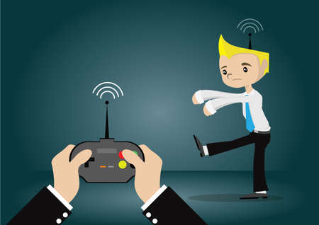 Cartoon character, young businessman that are forced by the remote control, vector eps10