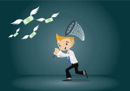 Cartoon karakter, Jonge zakenman loopt vangst geld, vector eps10