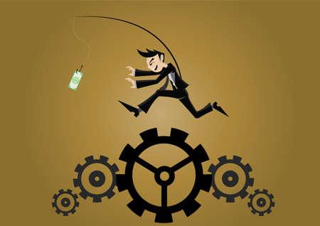 Cartoon character, Businessman running on gear, vector eps10