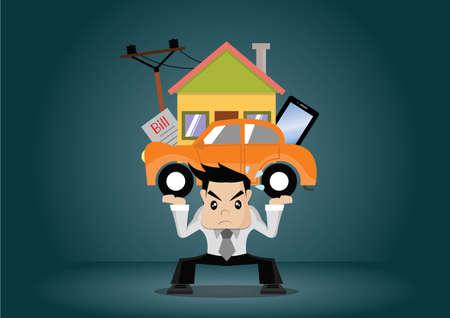 Cartoon character businessman debt burden, vector eps10 Illustration