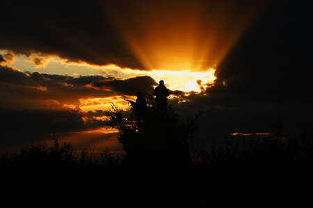 Sunset on the field of military exercises Stock Photo - 15955269