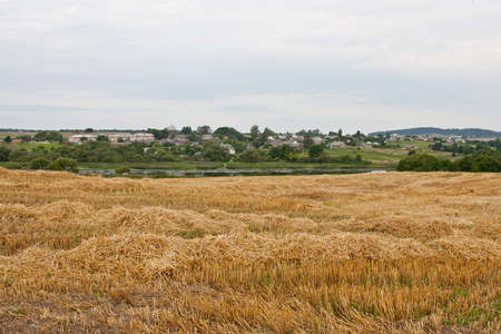 breadth: Field after harvesting. The average breadth of Europe. Stock Photo