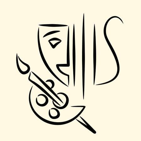 Theatre, music, painting emblem