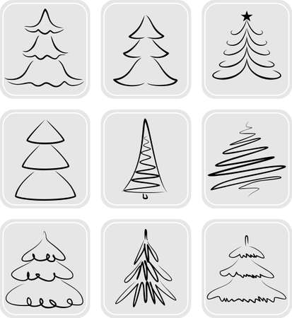 tree drawing: Christmas trees silhouettes. May be used as icons Illustration