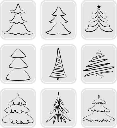 Rboles de navidad siluetas. Se puede utilizar como iconos Foto de archivo - 24027410