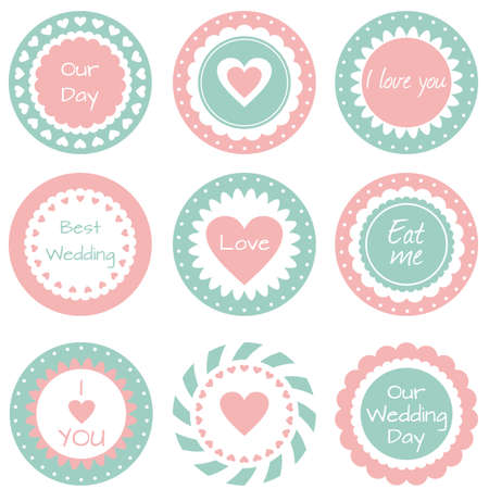 Set of tags, labels for wedding cupcakes