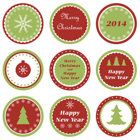 Set of tags for Christmas and New Year