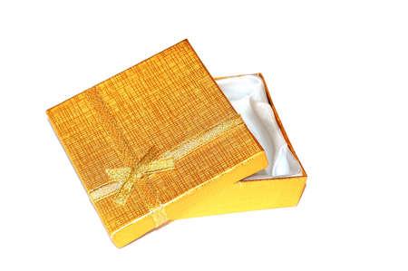 half open: Half-open gold box Stock Photo