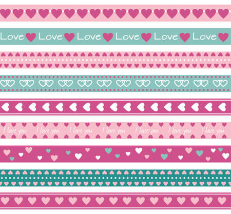 Seamless funny borders with hearts Ilustracja