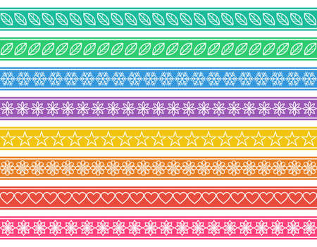 Colored seamless simple funny borders Vector