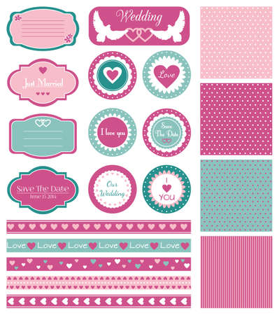 Set for bright wedding design Vector