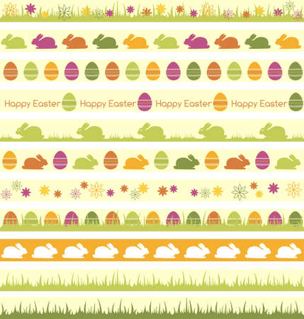Seamless borders for Easter desiogn Vector