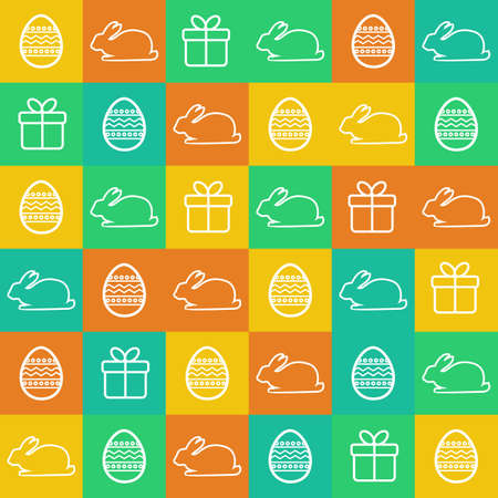 Seamless Easter background with flat style elements Vector