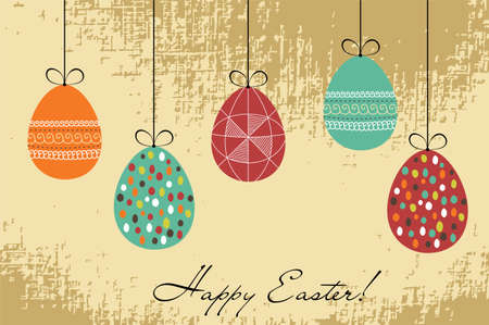 Easter retro card with hanging painted eggs Vector